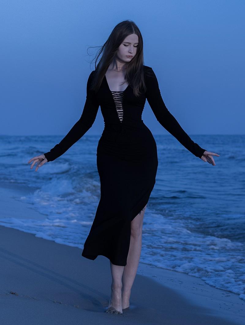 """Vestido largo \""""Valkyrie\"""", Negro"""