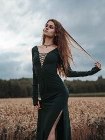 "Vestido largo \""Valkyrie\"", Verde pato"