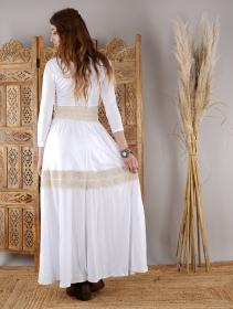 """Vestido largo abotonado \""""Heldaria\"""", Blanco y ganchillo beige"""