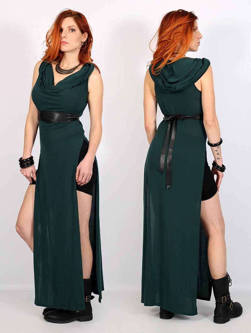 """Vestido largo con aberturas \""""Nephilim\"""", Verde pato"""