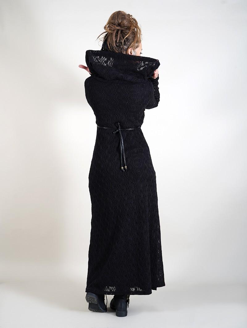 """Vestido largo con forro de ganchillo \""""Nouchka\"""", Negro"""