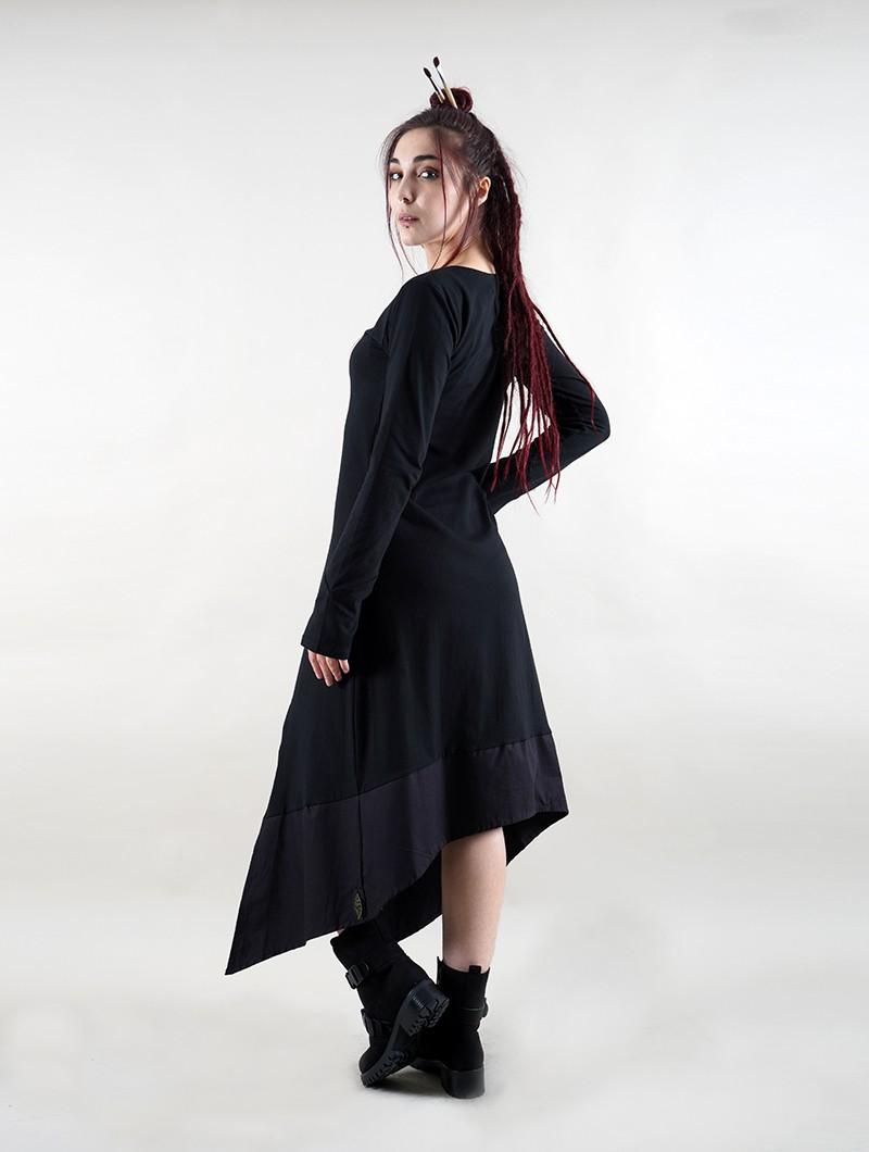 """Vestido largo manga larga \""""Anat\"""", Negro"""