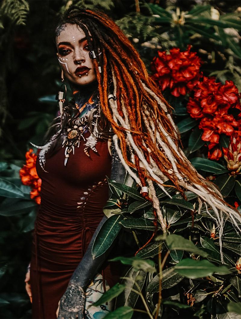 "Vestido midi \""Angelina\"", Rojo oscuro"