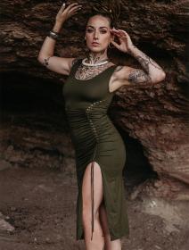 """Vestido midi con abertura \""""Angelina\"""", Verde oliva"""