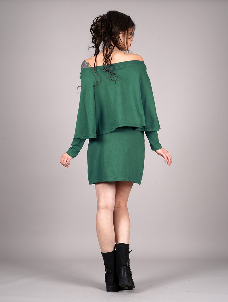 "Vestido poncho ""Yarayn Ethnic Arrow\"", Verde bosque"