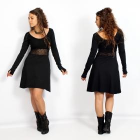 "Vestido skater con ganchillo \""Nymphea\"", Negro"
