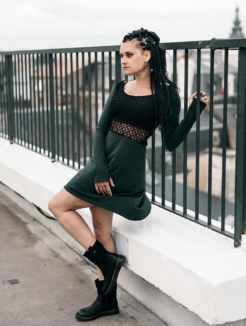 """Vestido skater con ganchillo \""""Nymphea\"""", Negro y Verde pato"""