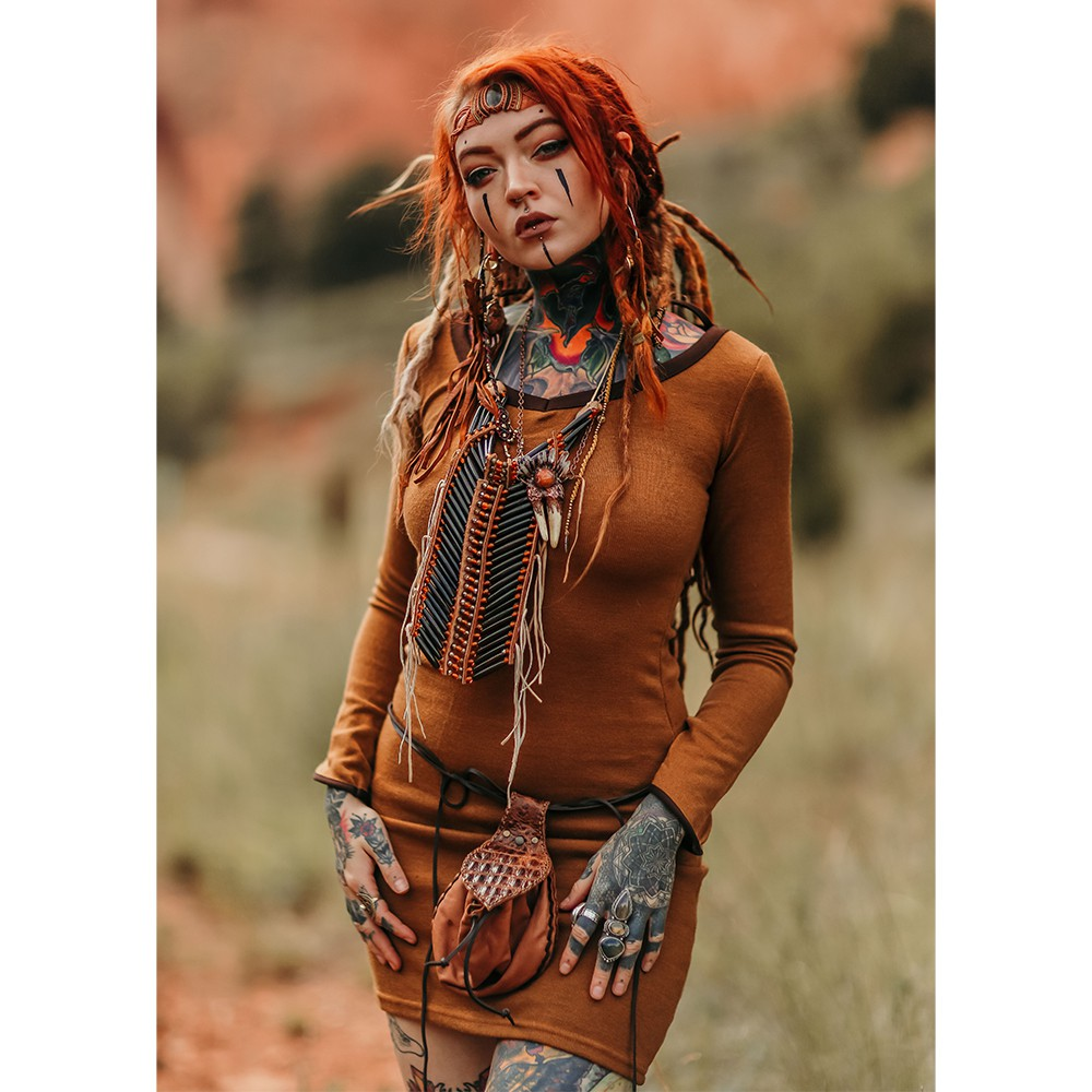 """Vestido suéter \""""Anaëly\"""", Óxido y marrón"""