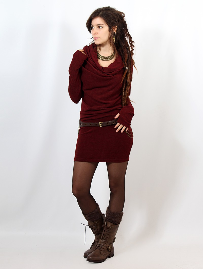 """Vestido suéter \""""Kali\"""", Burdeos"""