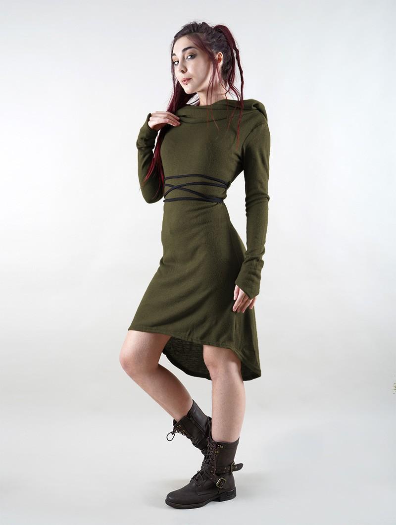 """Vestido suéter \""""Käliskä\"""", Verde caqui y negro"""