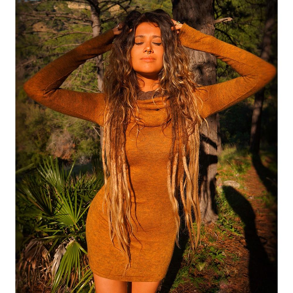 """Vestido suéter \""""Mantra\"""", Óxido y marrón"""