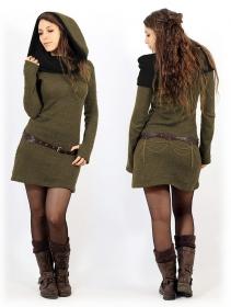 """Vestido suéter \""""Mantra\"""", Verde oliva y negro"""