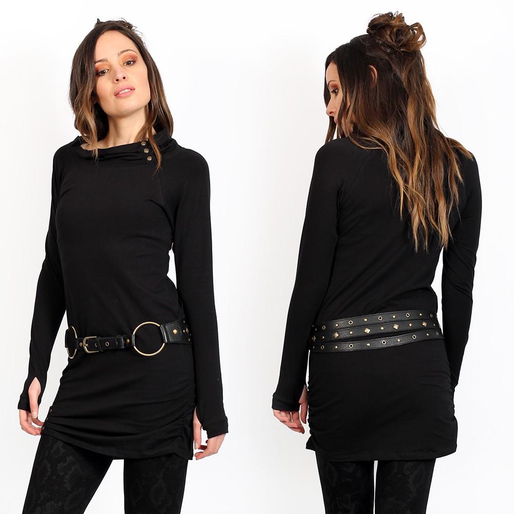 "Vestido túnica \""Loba\"", Negro unido"