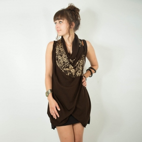 "Witch ""Ayakii\"" sleeveless shawl, Brown"