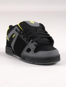 Zapatillas de skate DVS Celsius, Cuero negro y gris con detalles lima