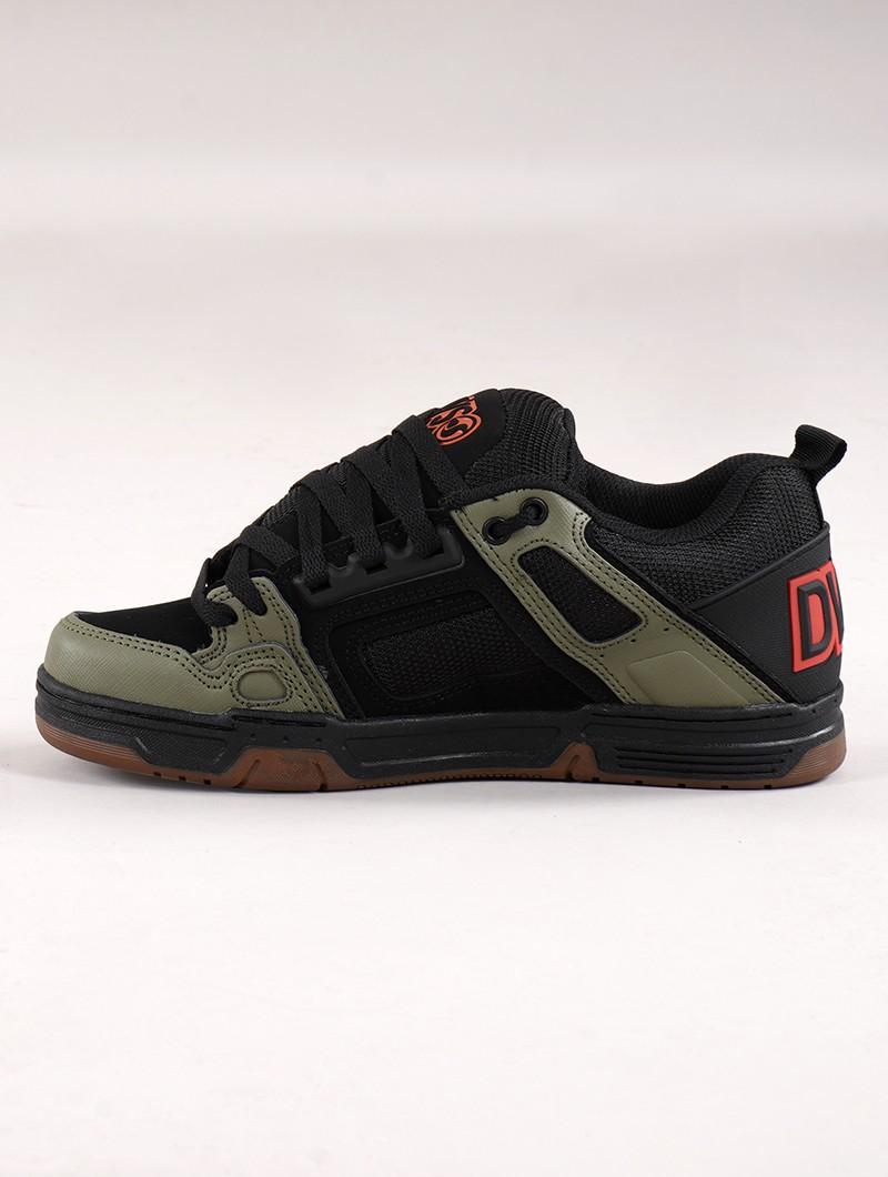 Zapatillas de skate DVS Comanche, Cuero negro y verde oliva con detalles naranjas