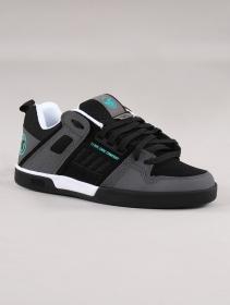 Zapatillas de skate DVS Comanche 2.0+, Cuero negro y gris con detalles turquesas