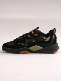 Zapatillas de skate DVS Devious, Cuero negro y detalles camuflaje