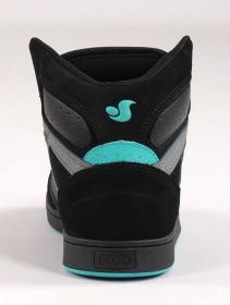 Zapatillas de skate DVS Honcho, Cuero negro, gris y suede turquesa