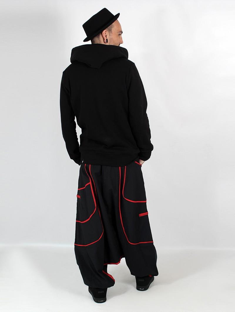 """Zaragüelles Macha unisex \""""Lines\"""", Negro con líneas rojos"""